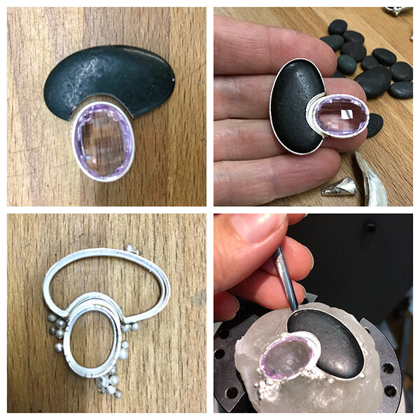 jewelry in the making - process of fitting rocks and gems, making a complicated silver bezel and setting the stones by hand.