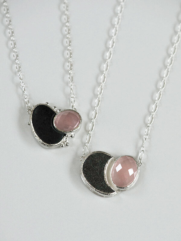 Rose quartz and beach rock silver love necklace for wedding anniversary or birthday gift