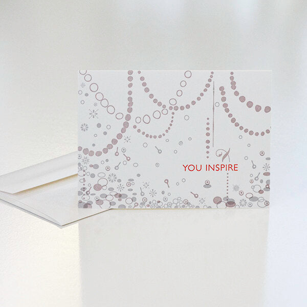 You Inspire custom Orange House Press letterpress card for Inspiring Women jewelry award by Catherine Grisez with CG Sculpture and Jewelry