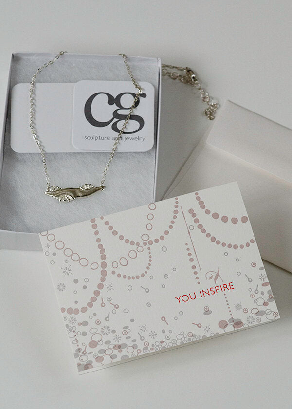 Inspiring Women jewelry award with letterpress You Inspire card - handmade gift to honor women who are a force for good