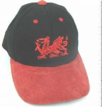 Red & Black Suede & Cotton Baseball Cap