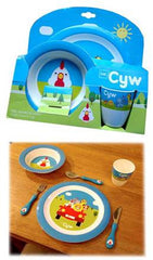 Cyw Plate, Bowl and Cup Set|Set Plat, Bowlen a Cwpan Cyw