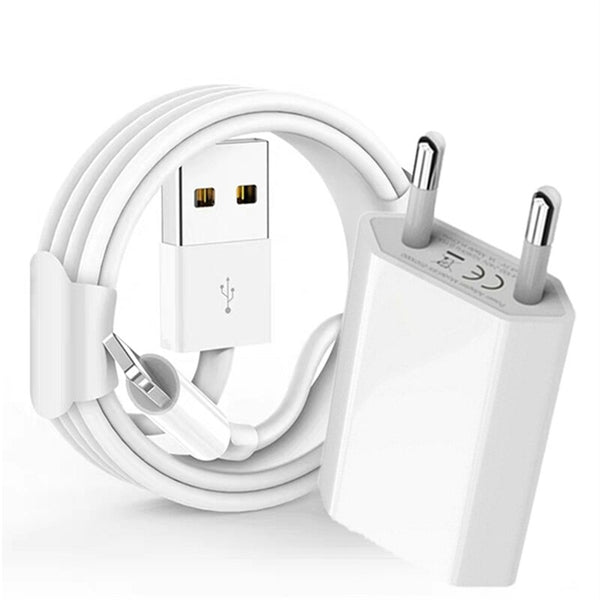 USB To Lightning Cable And EU Adapter 3M