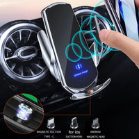 Silver Automatic 15W QI Car Wireless Charger