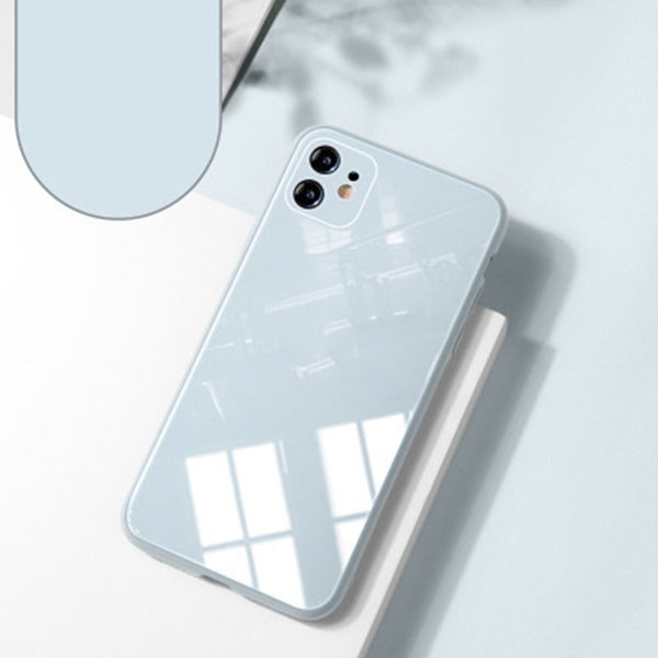 Gray White Silicone Tempered Glass Case for any iPhone