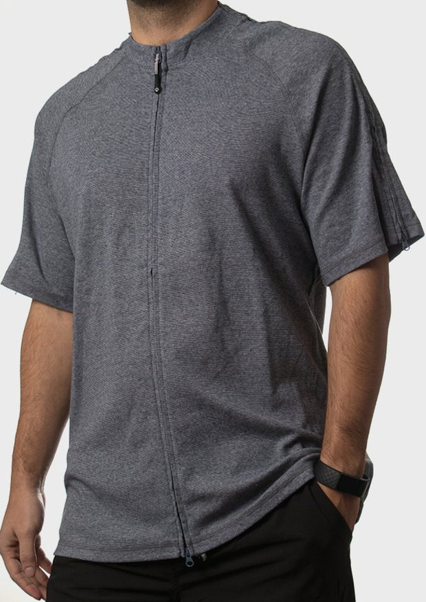 The Jim - Men's Easy Dressing Zipper Adaptive Tee for Seniors