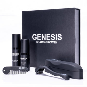 White background product photography of The Beard Growth Kit by GENESIS with all contents. Includes The Activator Serum, The Cleanser Spray, The Beard Comb, The Beard Roller