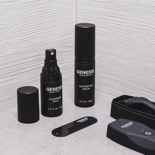 Lifestyle type close up of the contents in The Beard Growth Kit by GENESIS. Includes The Activator Serum, The Cleanser Spray, The Beard Comb, and The Beard Roller.