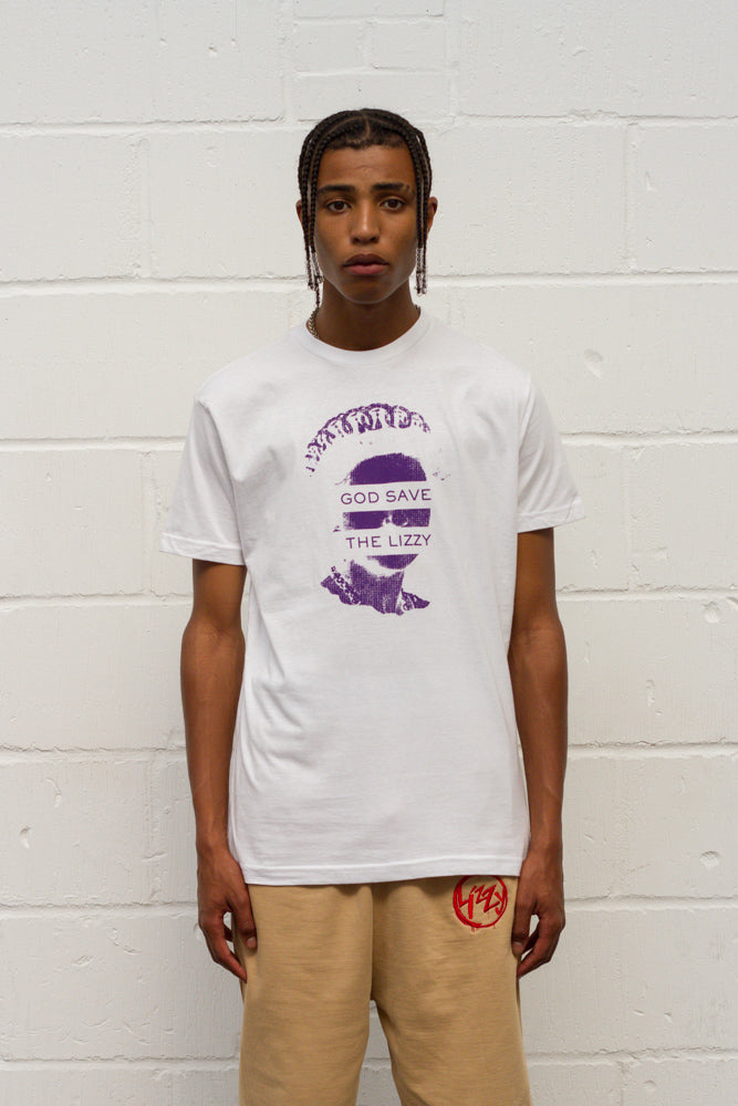 God Save The Lizzy Tee - White/Purple
