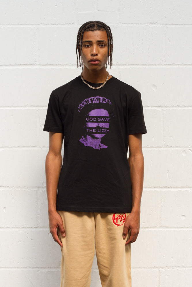 God Save The Lizzy Tee - Black/Purple