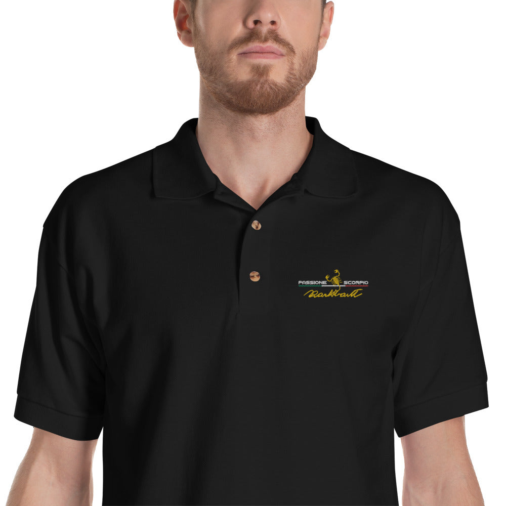 "Embroidered ""Carlo Abarth Signature "" Polo Shirt"
