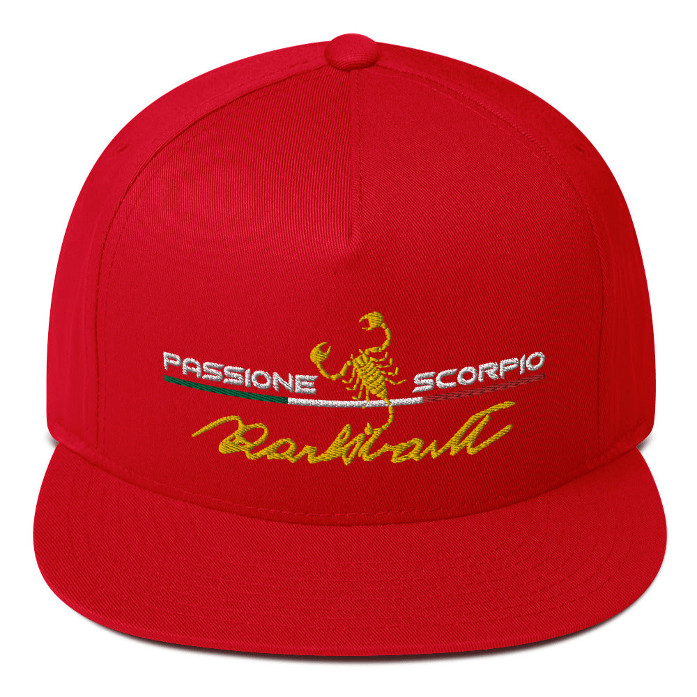 "Embroidered ""Carlo Abarth Signature"" five panel, high profile Flat Bill Cap"