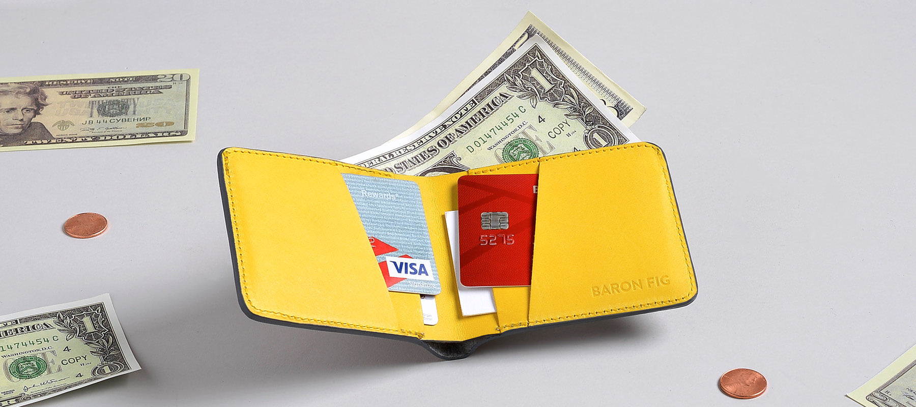 Slim Bifold wallet with cards and cash inside