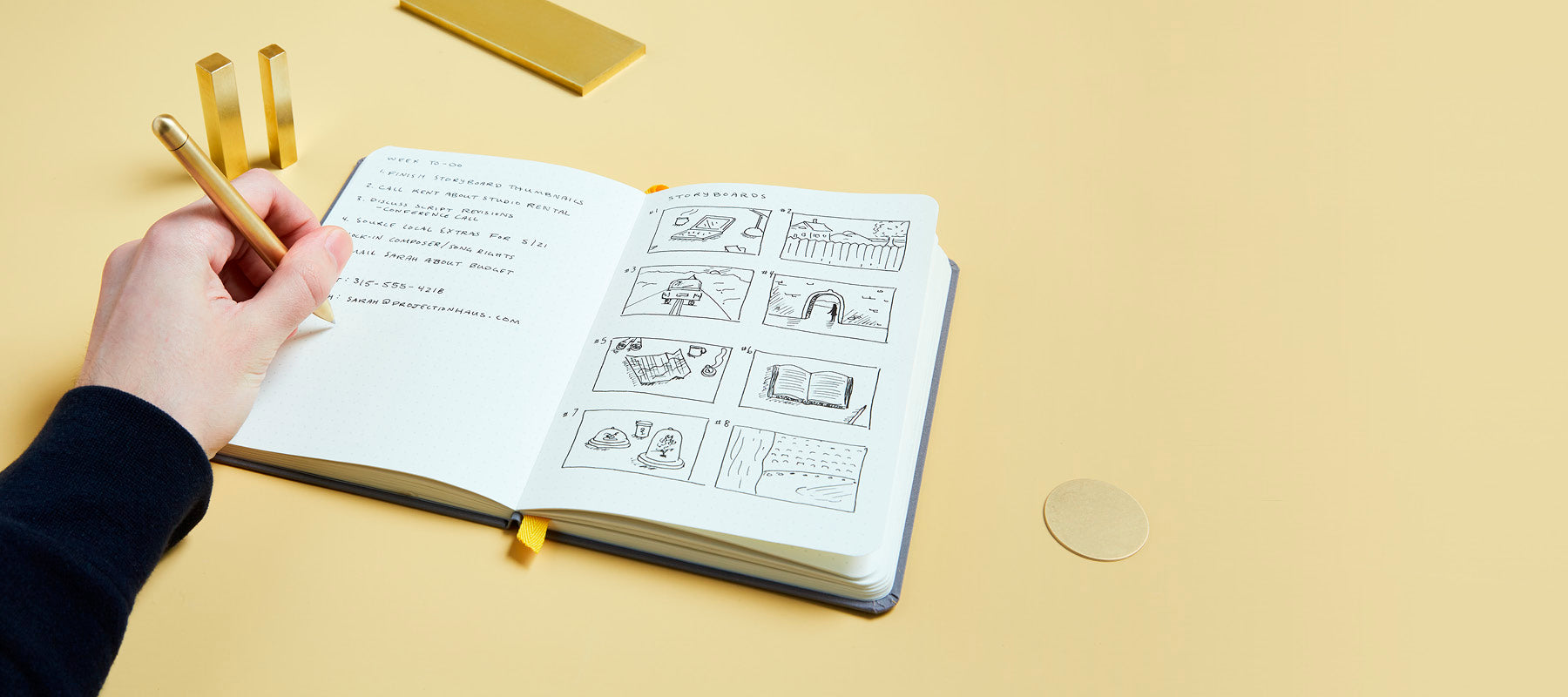 Squire brass pen drawing in confidant notebook.