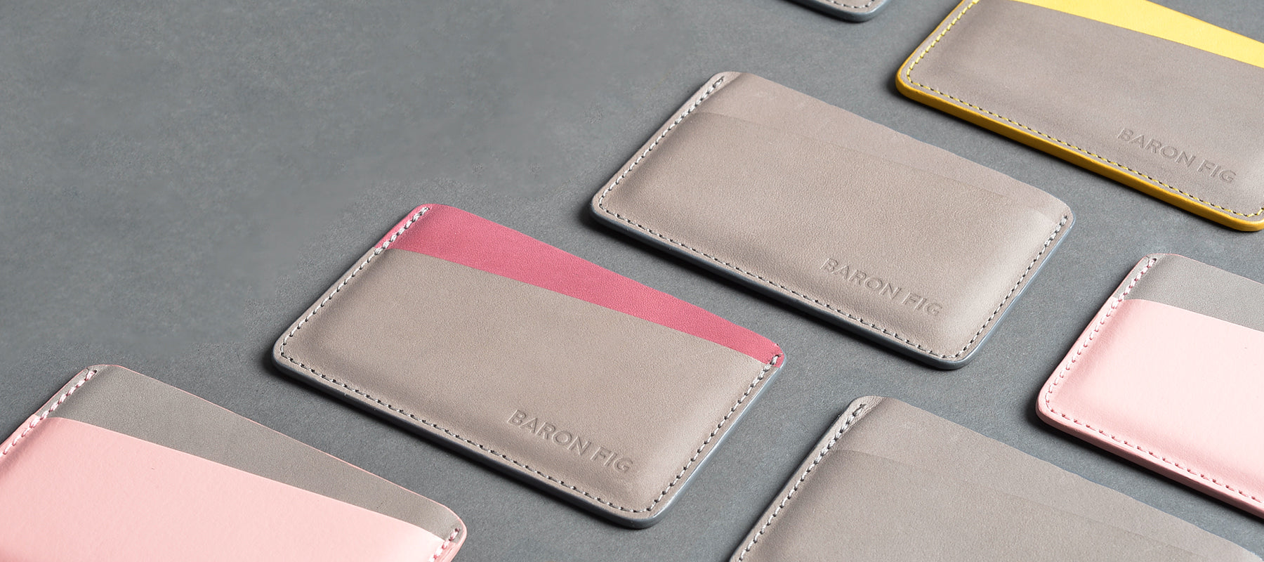 Card sleeve in charcoal, fig wine, rose quartz, yellow gold