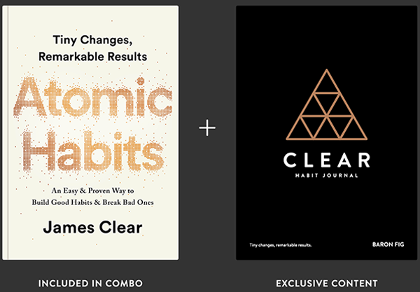 Atomic Habits book by James Clear with companion Clear Habit Journal