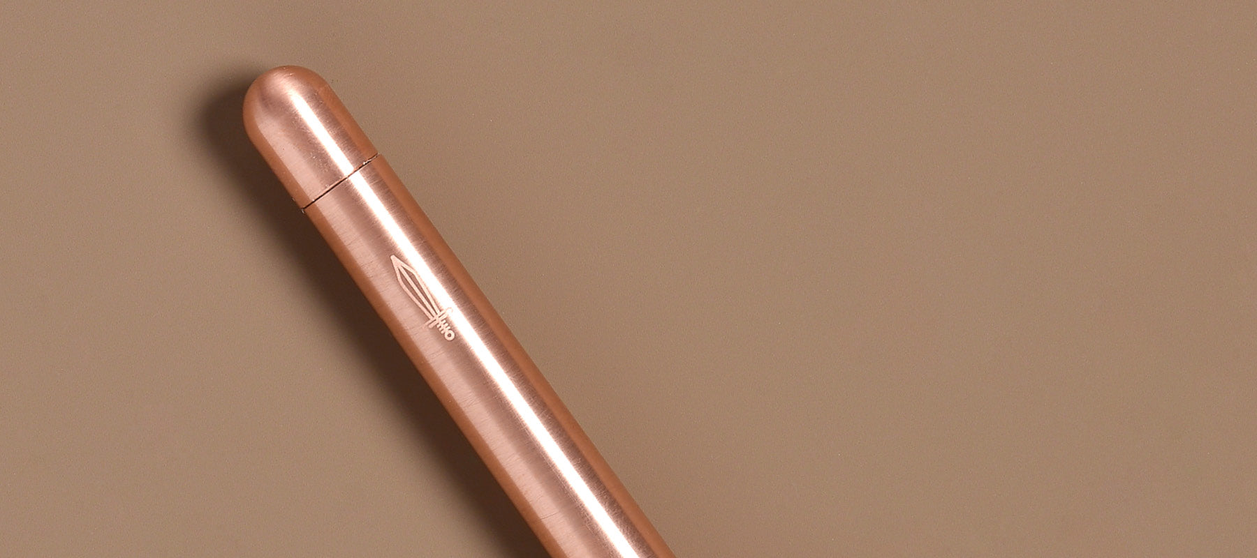 Close up of twist mechanism and sword detail on Squire copper pen