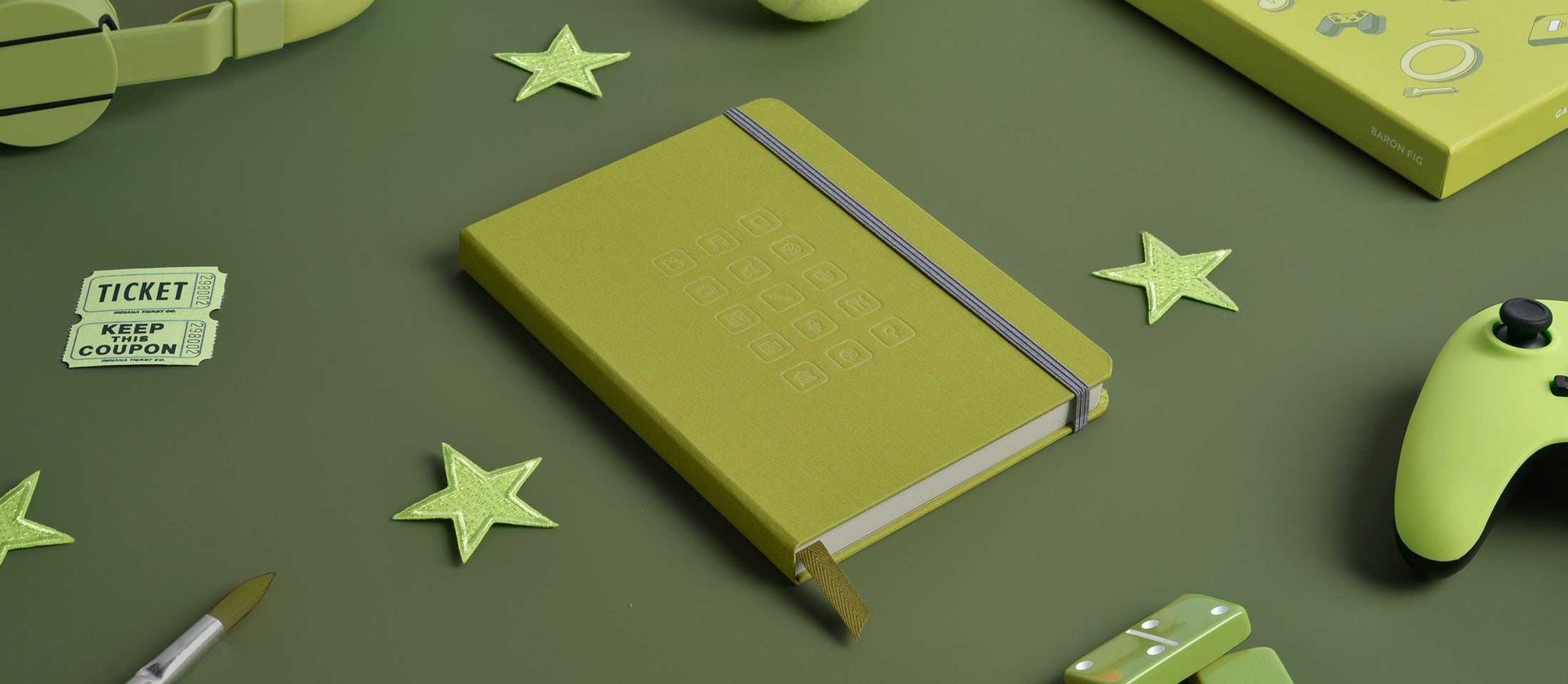 Gather review journal in olive green color