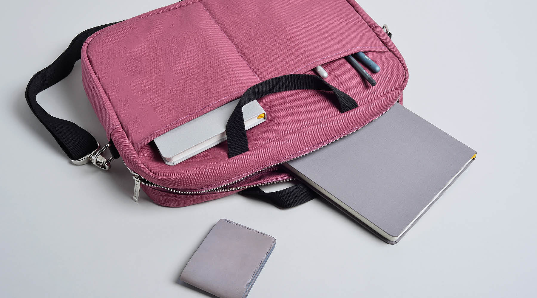 Fig wine messenger with slim bifold wallet, confidant notebooks, squire pens, archer pencil
