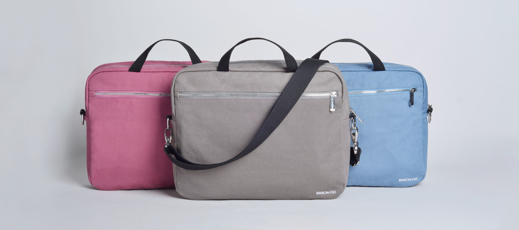 fig wine, charcoal, blue slate messenger bags
