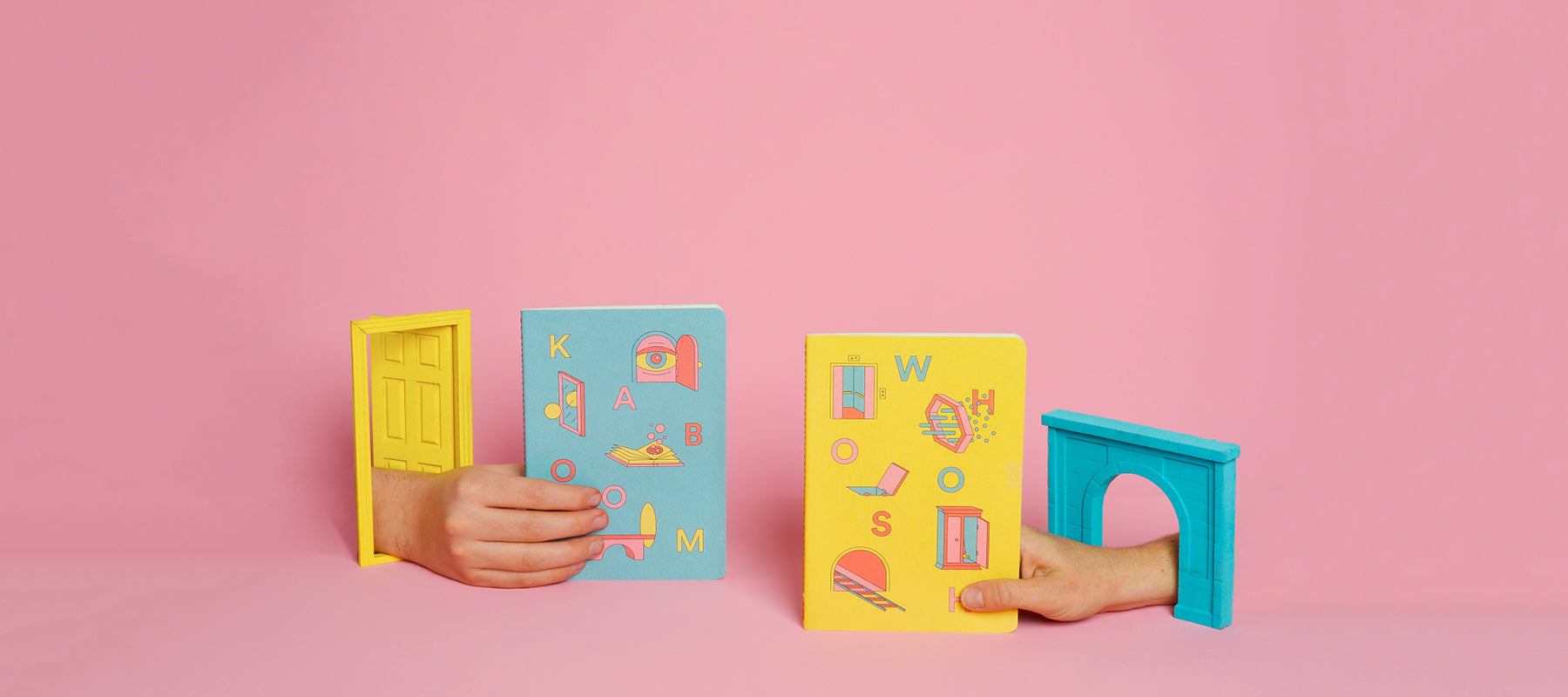 Blue and yellow portals softcover notebooks
