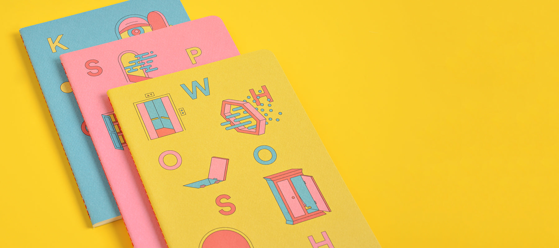 Portals notebooks in blue, pink, and yellow