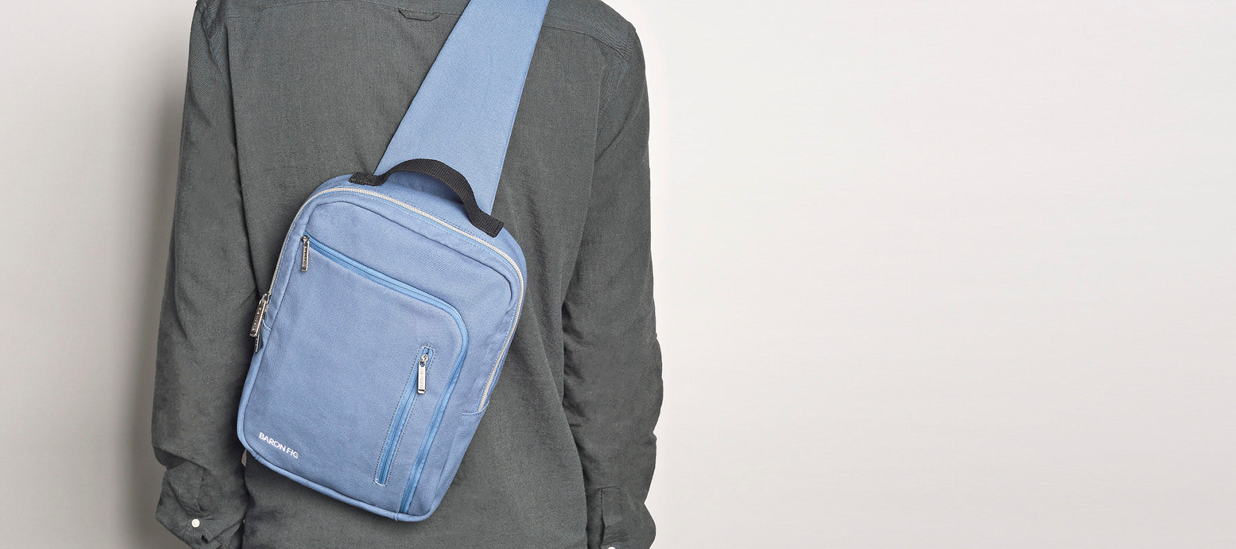 blue slate satchel on model