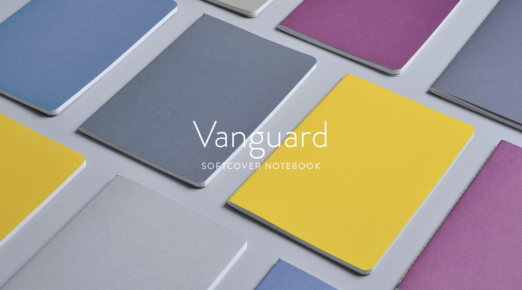 Vanguard notebooks in charcoal, light gray, fig wine, yellowgold and blue slate