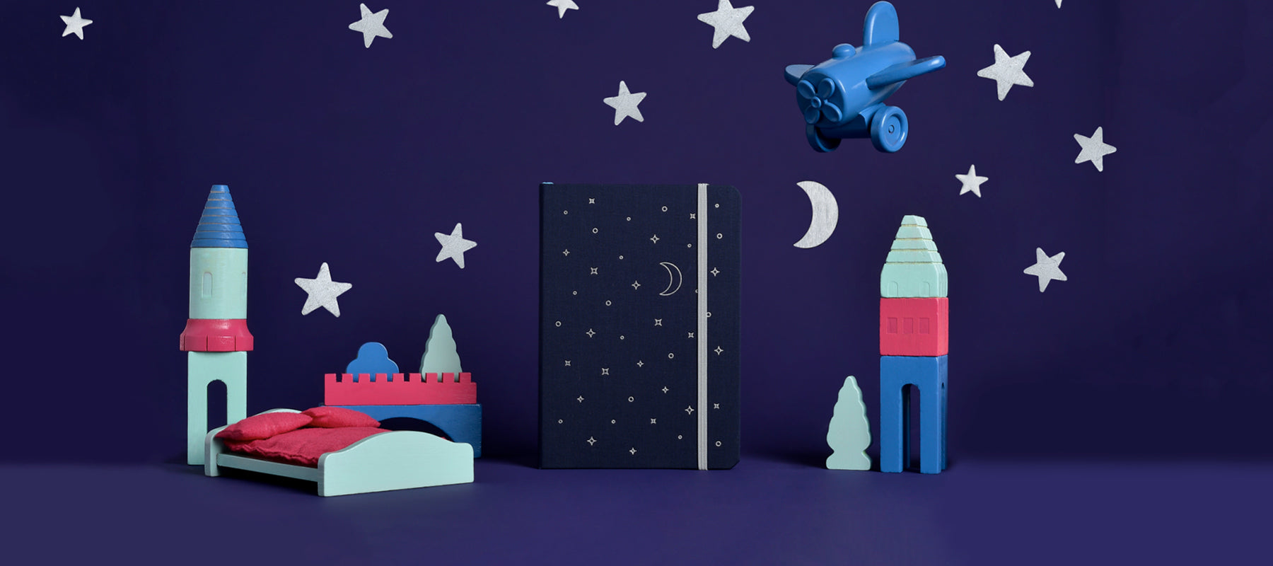 Wander dream journal with night sky backdrop
