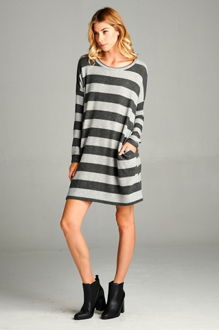 Heather Striped Pocket Dress
