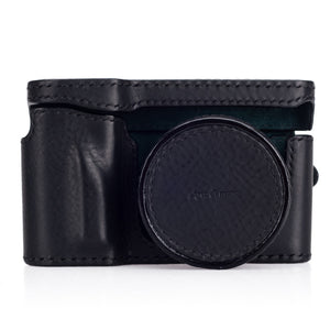 Arte di Mano Half Case + Semi Cover + Lens Cover for the Leica T (Typ 701) in Minerva Black with Black Stitching