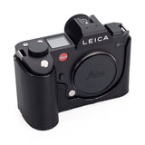 Arte di Mano Half Case for Leica SL (Typ 601) with Battery Access Door - Minerva Black with Black Stitching