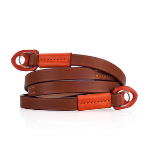Arte di Mano Comodo Neck Strap - Barenia Tan with Buttero Orange Accents
