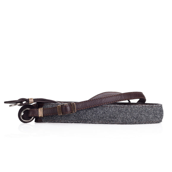 Cecilia Accessories_Neck Strap, Charcoal Alpaca/Brown Leather