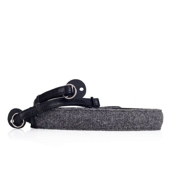 Cecilia Accessories_Neck Strap, Charcoal Alpaca/Black Leather