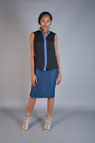Camilla Black & Blue Contrast Top - Eve and Tribe - 1