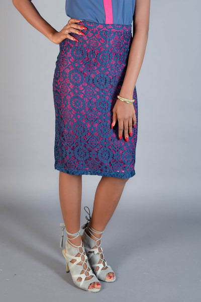 Amelia Blue & Pink Floral Lace Skirt - Eve and Tribe - 1
