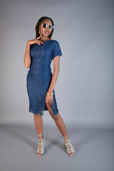 Kate Blue Lace Dress with Side Slit - Eve and Tribe - 1