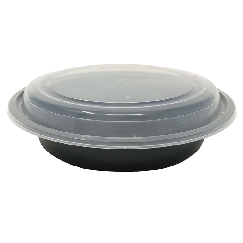 "HD RO-37B 8"" Round Plastic Container and Lid, 150 Sets"