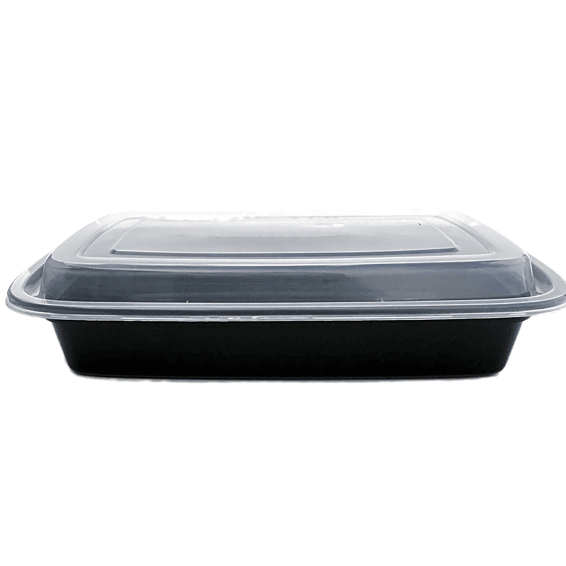 TD F-9628 28OZ Rect Plastic Container and Lid, 150 Sets