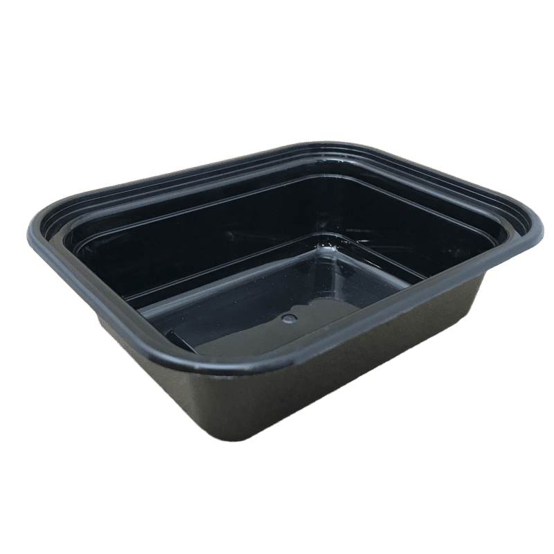 Karat 12OZ Rectangular Black Containers & Lids, 150 Sets
