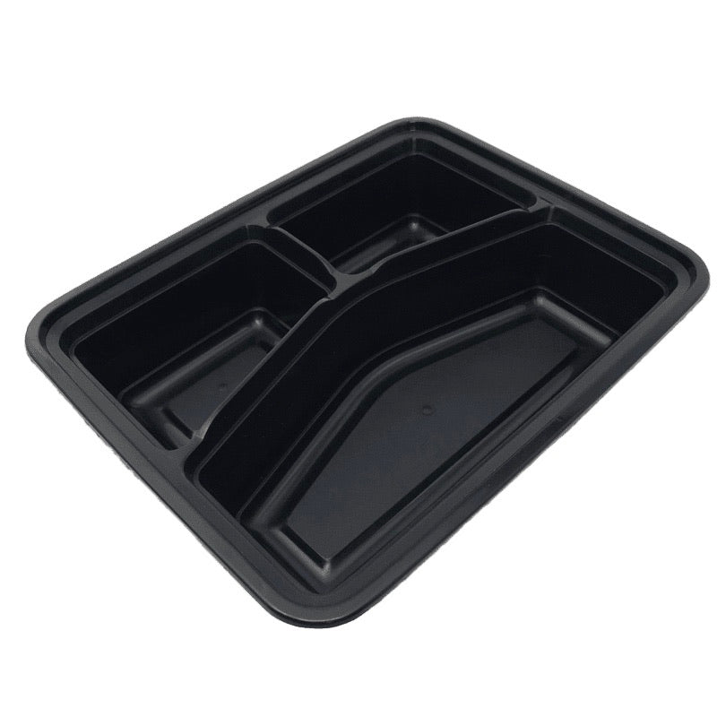 HD RE-342B 42OZ Rect 3-Comp Plastic Container and Lid, 150 Sets