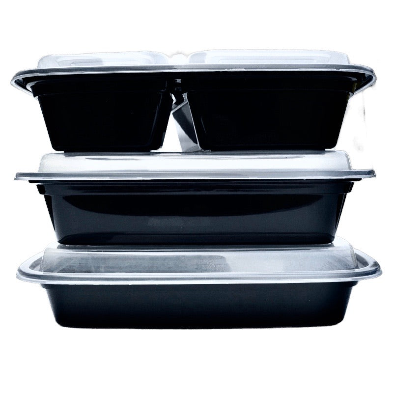 TD F-9632 32OZ Black Rect Plastic Container and Lid, 150 Sets
