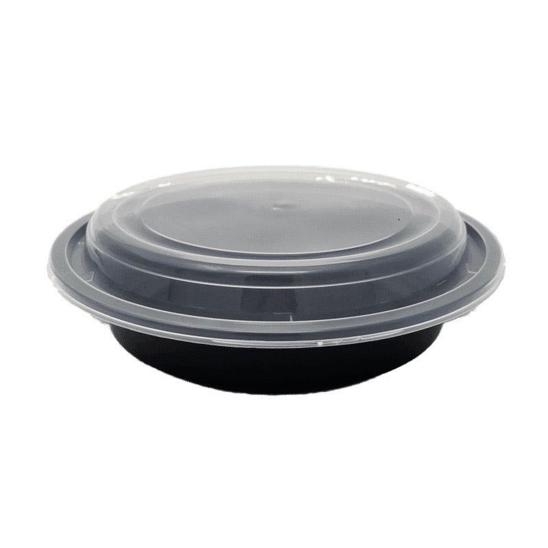 HD RO-24B 24OZ Round Plastic Container and Lid, 150 Sets