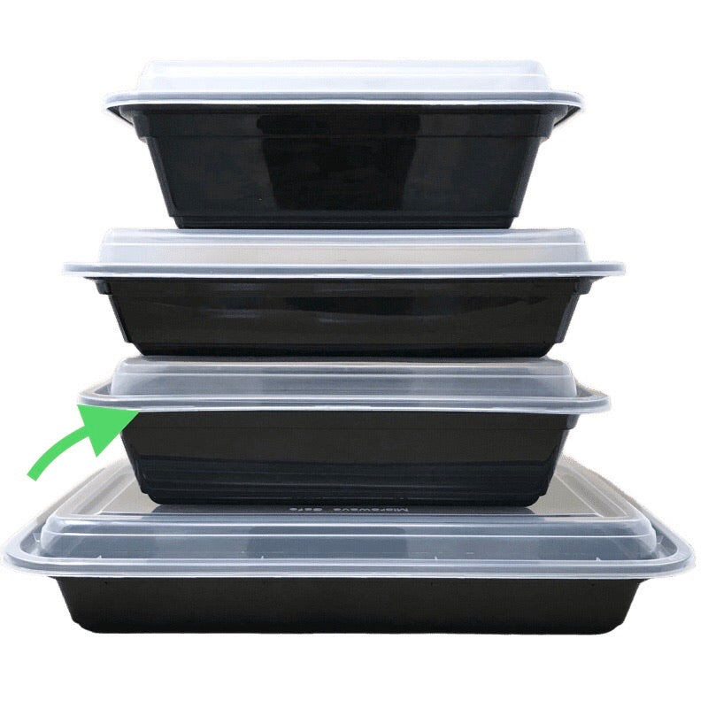 HD RE-38B 38OZ Rect Plastic Container and Lid, 150 Sets