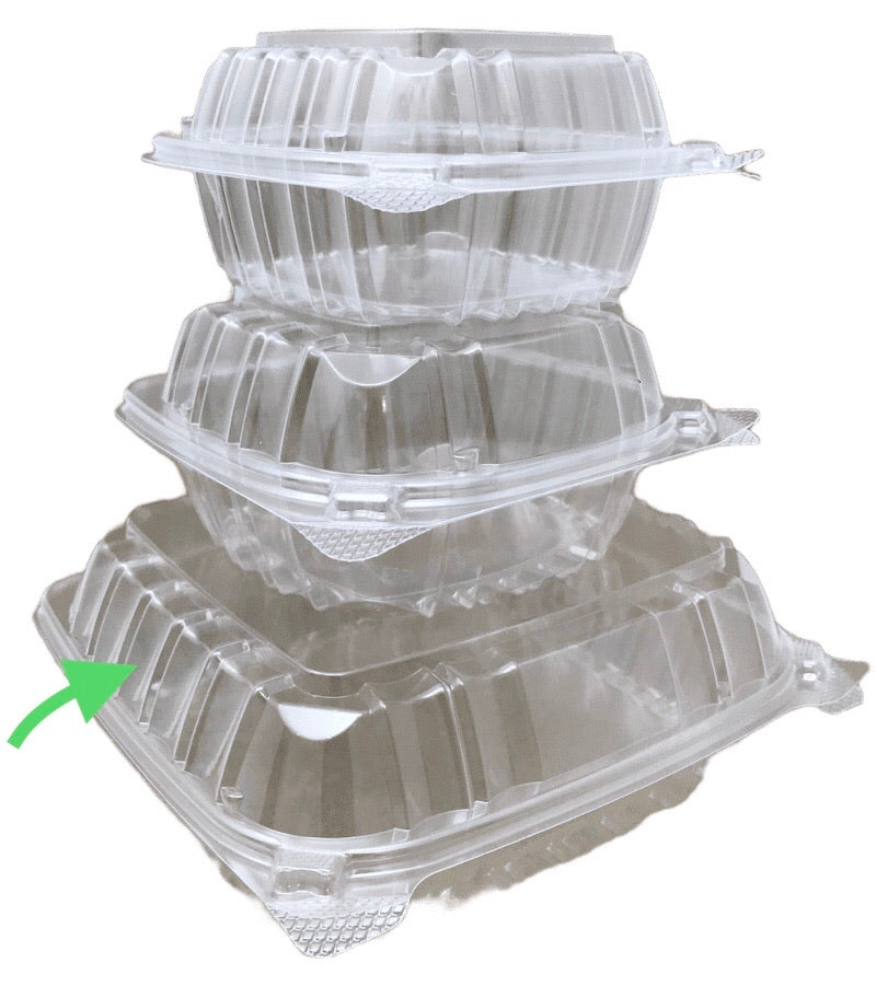 Dart C90PST1 8x8 1-Compartment Clear Hinged Container, 250/CS