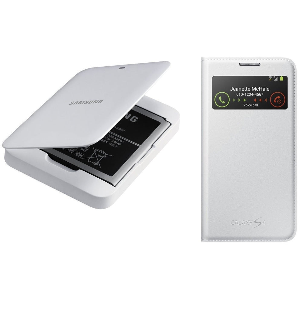 Samsung Galaxy S4 Spare Battery Charger with Battery & Samsung Galaxy S4 S-View Marble White Case