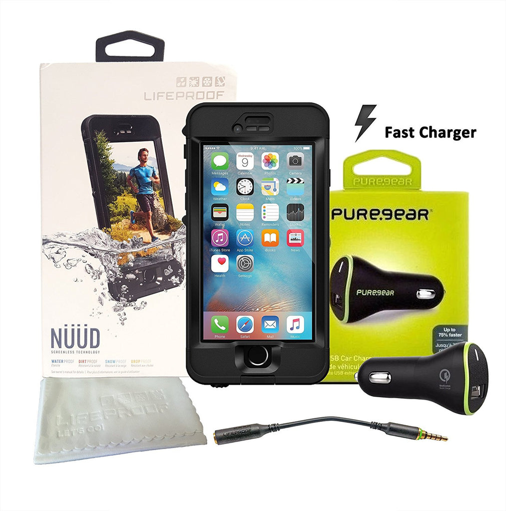 "Lifeproof NÜÜD SERIES iPhone 6s Plus Waterproof Case (5.5"" Version)  BLACK with 2Amp Puregear Car Adapter"