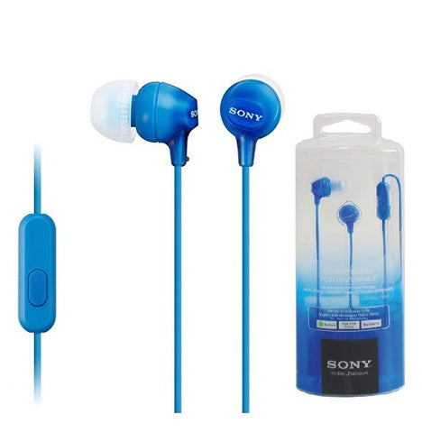 Retail Pack OEM Sony MDR-EX15AP In Ear Earbud Headphones w/Mic Blue 3.5mm Jack