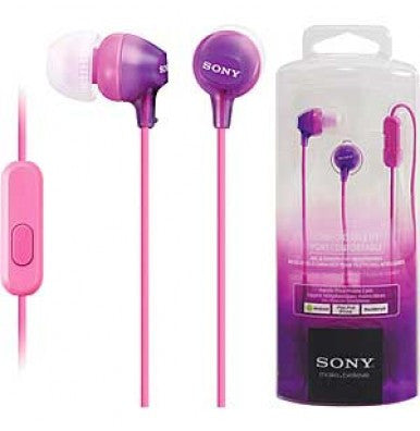 Retail Pack OEM Sony MDR-EX15AP In Ear Earbud Headphones w/Mic Violet 3.5mm Jack